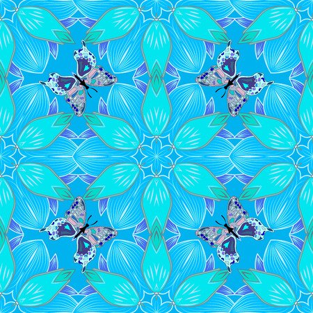 dearness: abstract blue petals flowers background. Raster illustration.