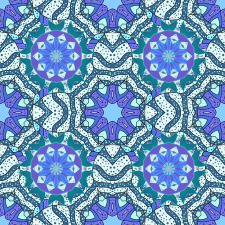 revival: Mandala pattern,background. Vintage decorative ornament,background. East,Islam, Arabic,Indian,ottoman motifs,revival swirling.Blue Abstract Tribal,ethnic texture.Orient,symmetry lace,fabric,wallpaper