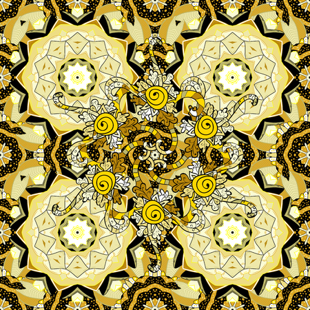 circle flower: Seamless background. Circle flower mandalas seamless pattern in dim white and yellow, vector Illustration