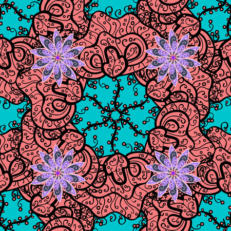 Elegant seamless pattern with Mandala-like and floral elements. Nice hand drawn vector illustration. Pink, blue, red. Illustration