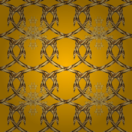 swatch: Abstract repeatable pattern background of golden twisted strips. Swatch of gold intertwined hearts. Romantic seamless pattern.