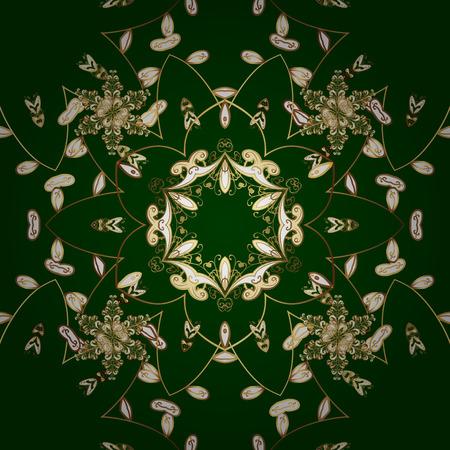 drapes: Green floral vector golden ornament on green background Illustration