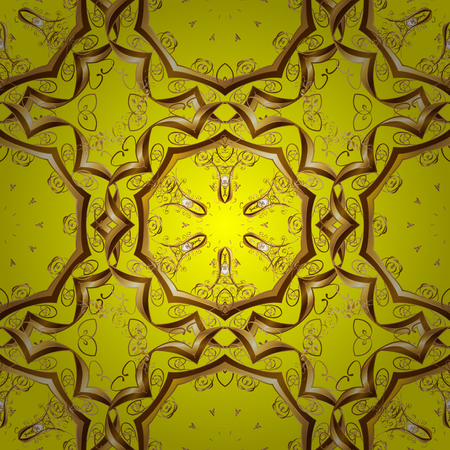 Seamless abstract pattern on yellow background with floral golden elements. Vector illustration. Pattern background.