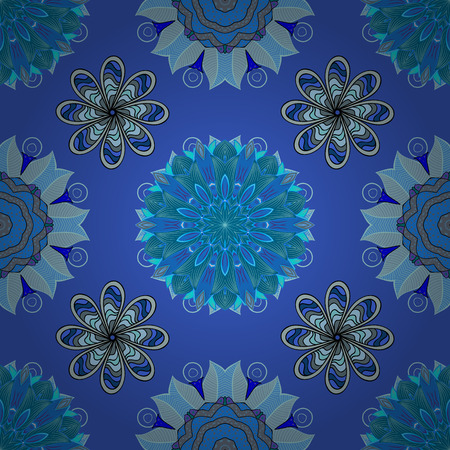 braided: Blue lace. Round lace pattern on an azure background Illustration