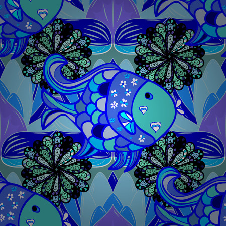 indian fish: Vector abstract seamless geometrical background with fish. Blue.