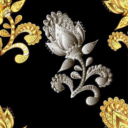 Modelo abstracto en estilo árabe. vector de fondo sin fisuras. El oro y la plata textura. patrón gráfico moderno. Fondo negro. elementos grises.