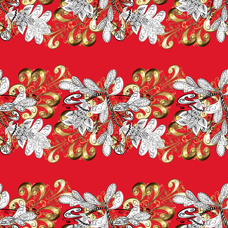 Seamless vintage pattern on red gradient background with golden elements. Illustration