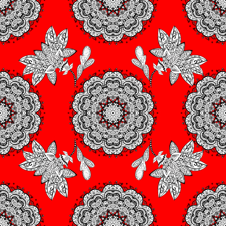 dressing: White mandala pattern in red background. Vector.