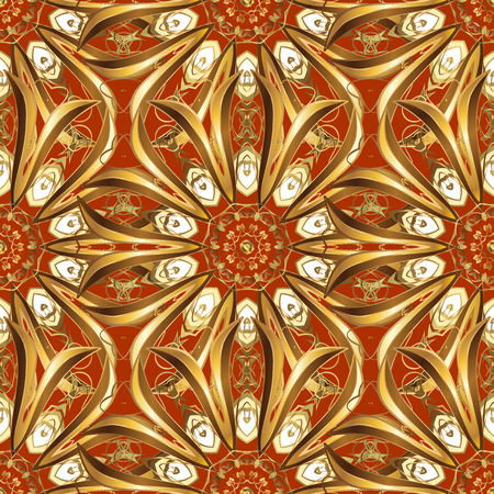 foxy: Seamless damask pattern, classic, ginger and rufous background. Vector. Red, carroty, foxy, Judas-colored.