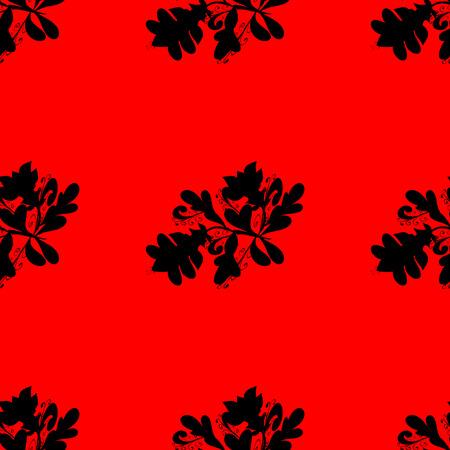 raster illustration: Black flowers silhouette on red background. Raster illustration.