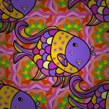 Doodles fish on colorful flowers background. Vector illustration.