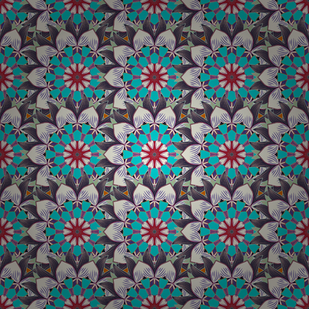 navy blue background: Seamless pattern with red flowers on navy blue background. Vector illustration.
