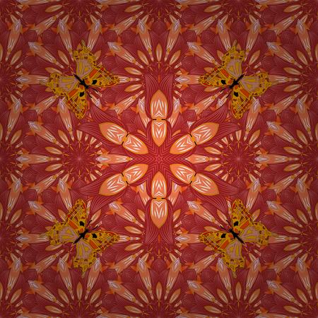 editable vector pattern. Mandala. Pattern with butterflies. Red, orange.