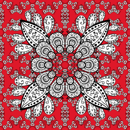dressing: Pattern with white doodles and mandala flowers on red background. Raster illustration.