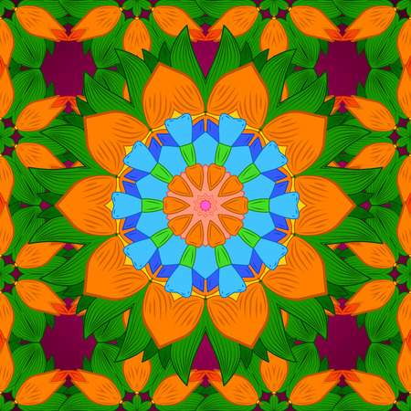 Seamless floral mandala pattern, turquoise green and pale orange on floral green background.