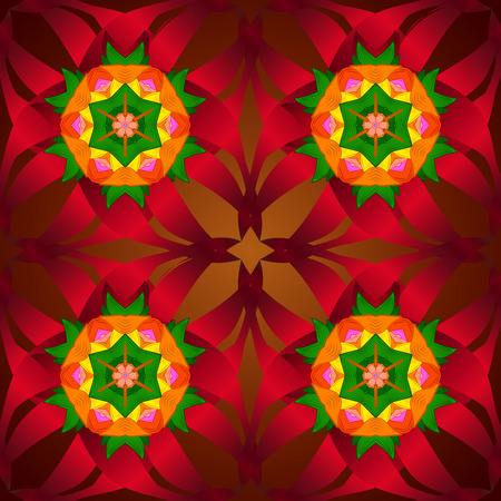 Seamless floral mandala pattern, turquoise green and pale orange on floral red background.