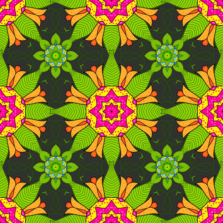 Seamless floral mandala pattern in pink, turquoise green and pale orange on floral yellow background.