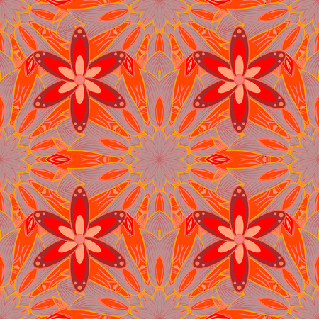 Abstract red, orange, and gray background with petal flower. Vector