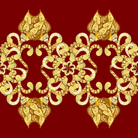 Golden leaf lace on red background. Vintage floral pattern. Vector.
