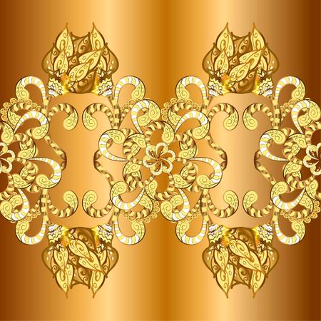 golden background with floral ornaments. Bud and doodles. Vector. Illustration