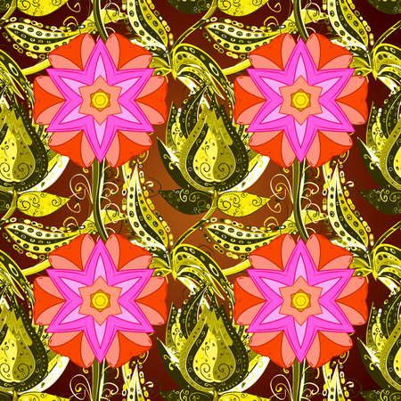 Pink petals flower seamless pattern raster illustration on flowers yellow background Stock Photo