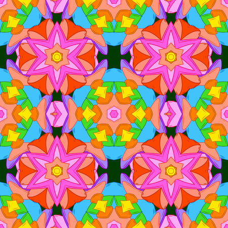 Seamless floral mandala pattern in pink, turquoise green, blue and pale orange on dark blue background.