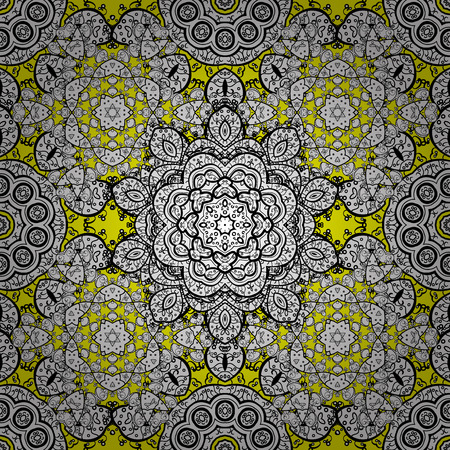 golde: Seamless background. Circle flower mandalas seamless pattern in black white and yellow, vector