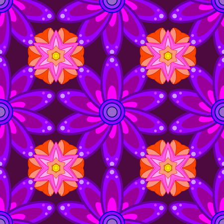 Vintage pattern on petals round background with lilac flower. Pink, lilac mandalas background. Stock Photo