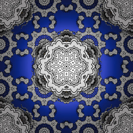 Oriental pattern of white flowers and mandalas. Vector blue gredient background. Illustration