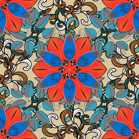 Seamless pattern with Mandalas. Vector ornaments, background. Red, blue, beige, brown.