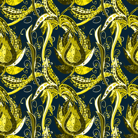 scrollwork: Seamless pattern with curls. Elegant scrollwork in the form of drops. Dark blue background with yellow and black patterns. Vintage ornament with floral stylized patterns. Stock Photo