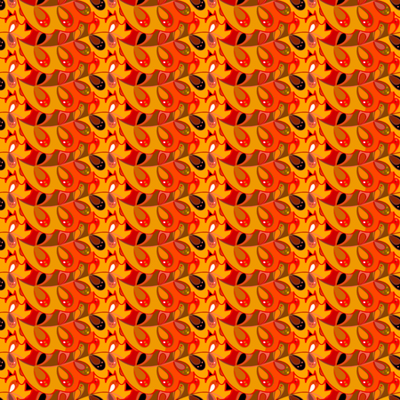 Seamless abstract hand-drawn waves pattern, wavy background. Orange, yellow, red.