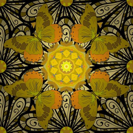 mariposas amarillas: de fondo sin fisuras. Círculo de los pétalos de mandalas de flores sin patrón en negro y amarillo tenue, vector. mariposas amarillas.