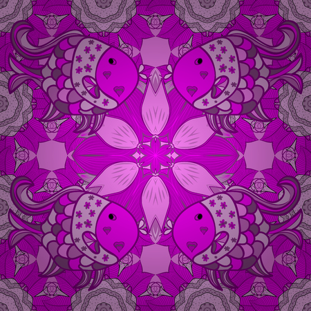 Pink and green flowers seamless background. Vector illustration. Fish