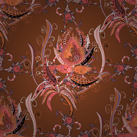 scrap gold: floral design, dark Brown and pink flowers. Vector.