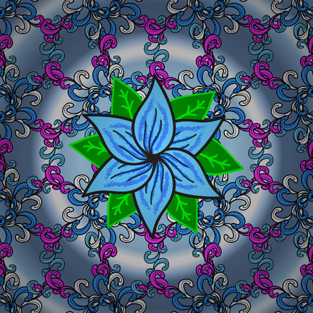 Vector vivid seamless abstract hand drawn pattern with plants. Blue round background. Pink, blue, green, lilac.