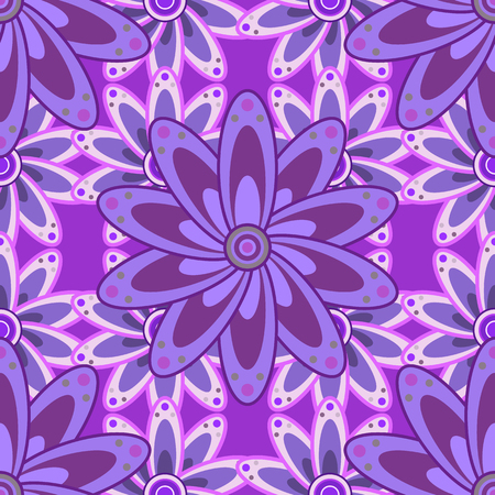 Vintage pattern on mandala round background with white flower. Violet, lilac mandalas background. Butterfly. Illustration
