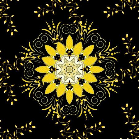 dull: Mandala. Yellow round ornament pattern on black background.