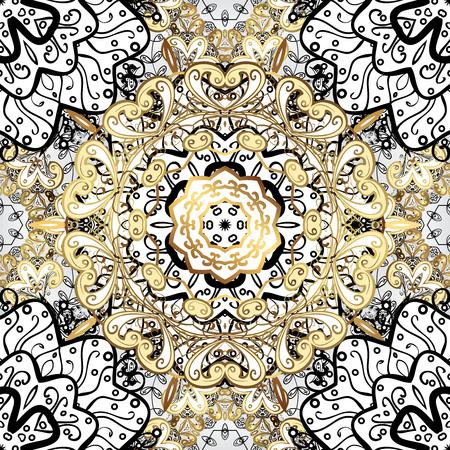golde: Vintage pattern on golden background with white floral elements. Raster.