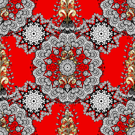 Seamless white floral ornament on a red background with golden elements.