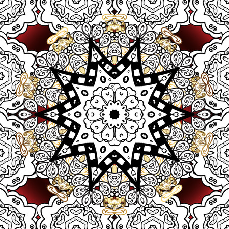 golde: Seamless vintage pattern on red background with white floral elements. Raster.