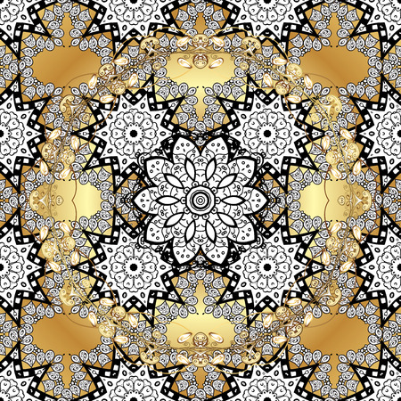 golde: Vintage pattern on golden round background with white floral elements. Raster.
