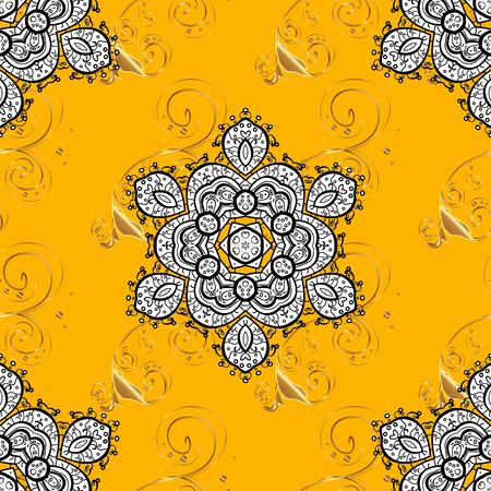 golde: Seamless background. Circle flower mandalas seamless pattern in black white and yellow, orange, golden, raster