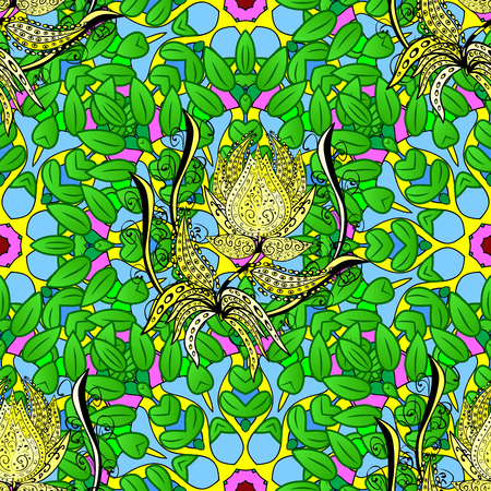 Seamless floral mandala pattern in green, blue and yellow on floral background. Stock Photo