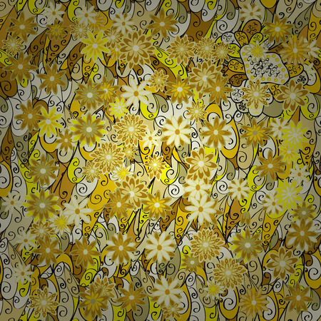 sateen: Seamless floral pattern. Light yellow flowers on a yellow background Illustration