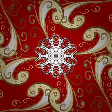Vintage pattern on gradient red background with golden and white elements. Illustration