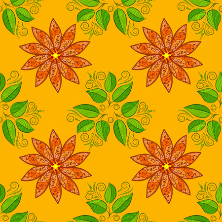 orange gerbera: Autumn flowers on orange and dim yellow background. Green leaves. Vector.
