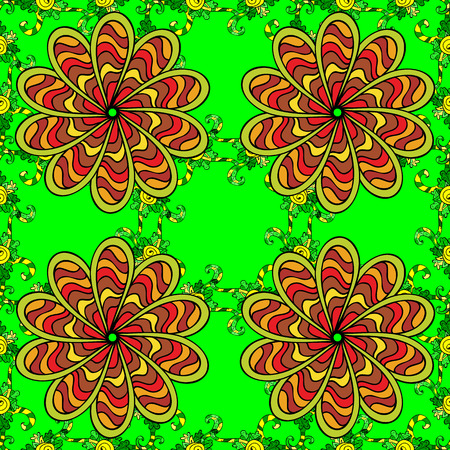 swill: seamless floral green background with petal flower. Illustration