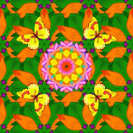mariposas amarillas: Fondo con el mandala. Naranja, rosa, amarillo, verde. mariposas amarillas. Vector.