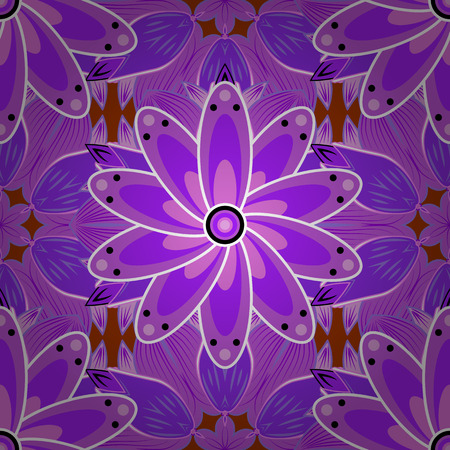 fishy: Violet lilac seamless pattern with light leaves details. Vector.